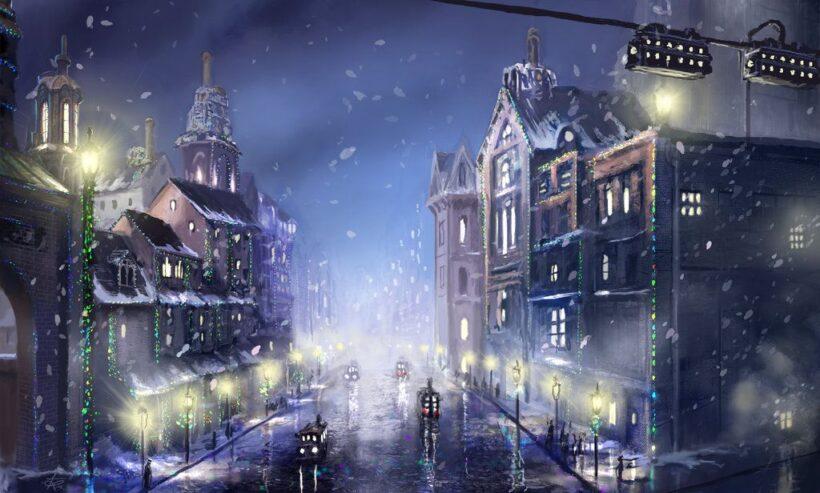 Hình ảnh anime mùa đông mưa tuyết