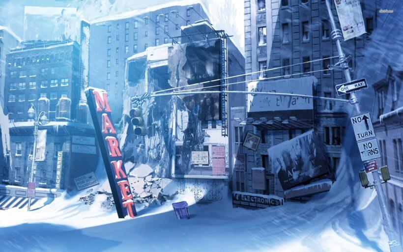 Hình ảnh anime mùa đông tuyết phủ đường phố