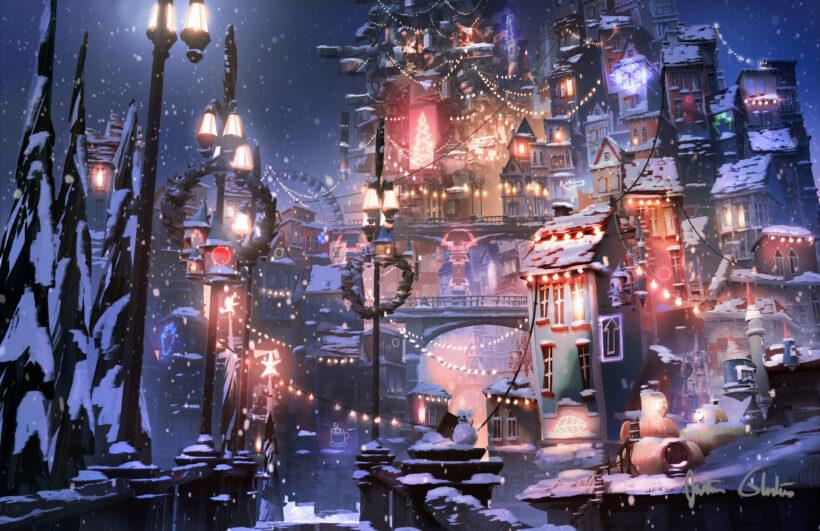 Hình ảnh anime mùa đông về đêm