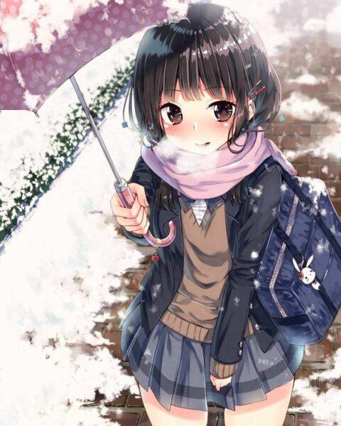 Hình ảnh anime nữ mùa đông dễ thương