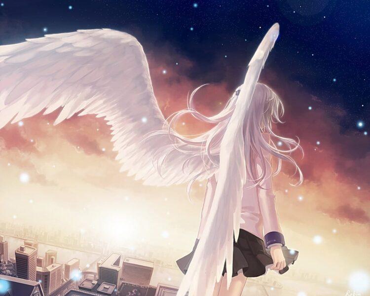 Hình ảnh anime thiên thần có đôi cánh trắng