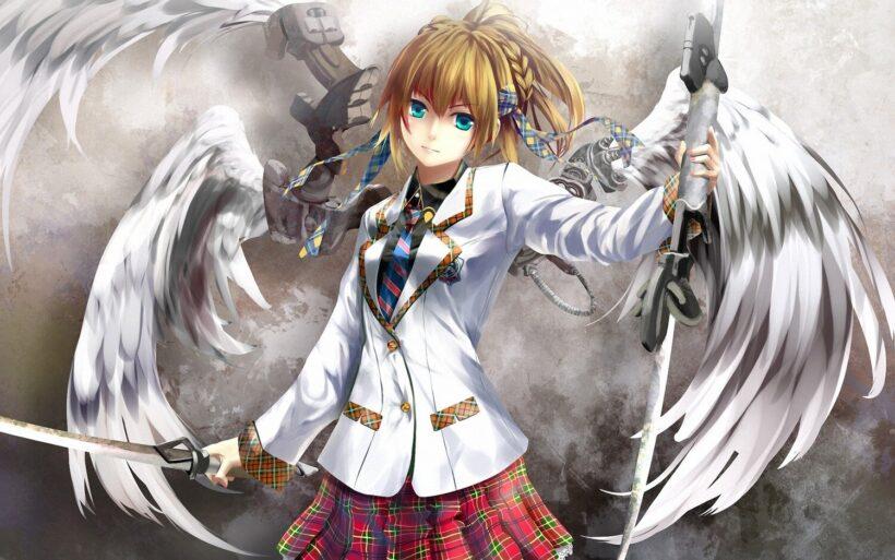 Hình ảnh anime thiên thần mặc đồng phục nữ sinh