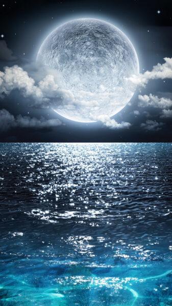 Hình ảnh biển đêm lấp lánh ánh trăng đẹp