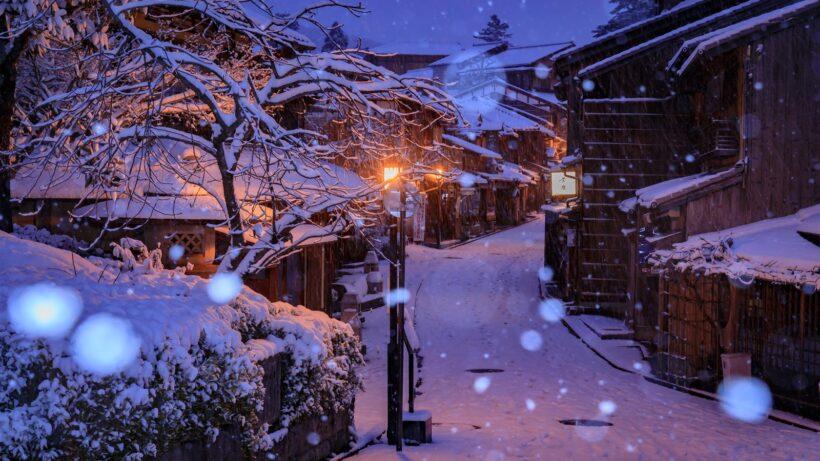 Hình ảnh buổi tối anime mùa đông