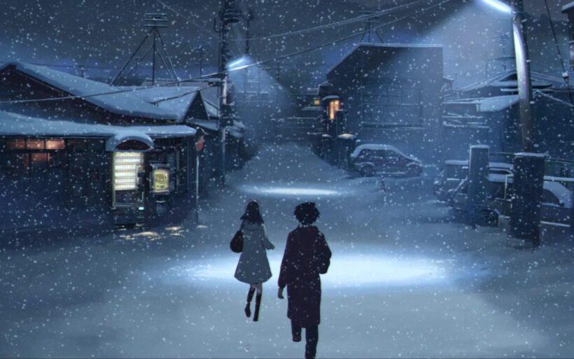 Hình ảnh cặp đôi anime đi trong mùa đông