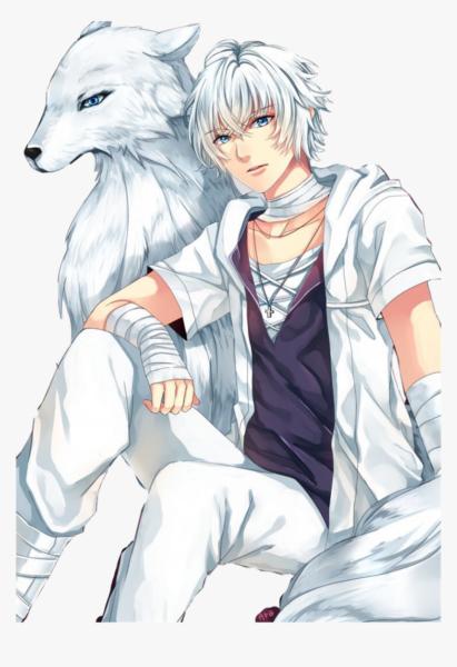 Hình ảnh chàng trai anime tóc bạch kim bên sói xám