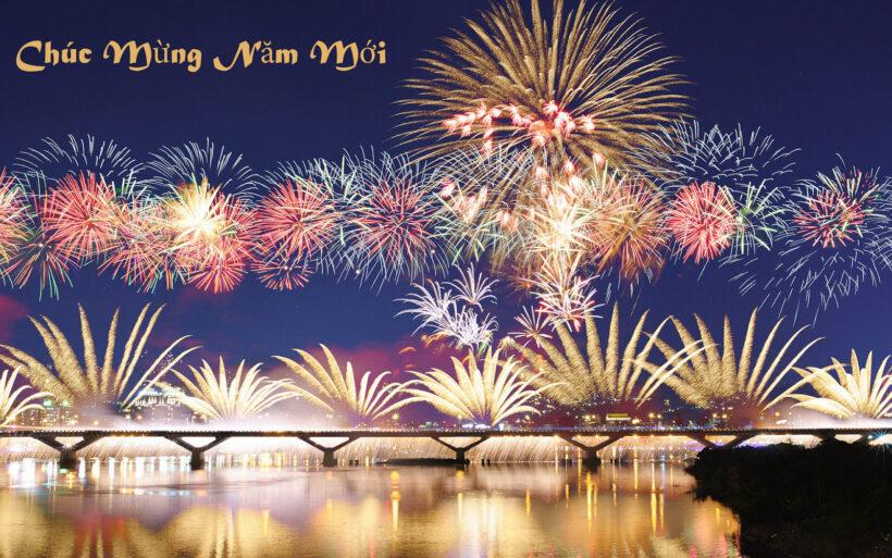 Hình ảnh chúc mừng năm mới rực rỡ pháo hoa