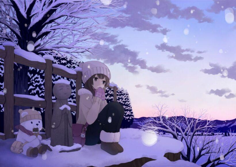 Hình ảnh cô bé anime mùa đông