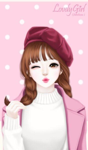 Hình ảnh cô gái anime Hàn Quốc chu môi đáng yêu