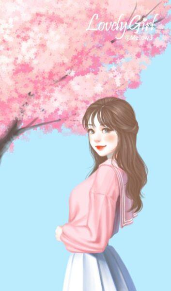 Hình ảnh cô gái anime Hàn Quốc đứng dưới gốc cây hoa anh đào