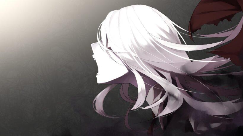 Hình ảnh cô gái anime tóc bạch kim đang gào thét
