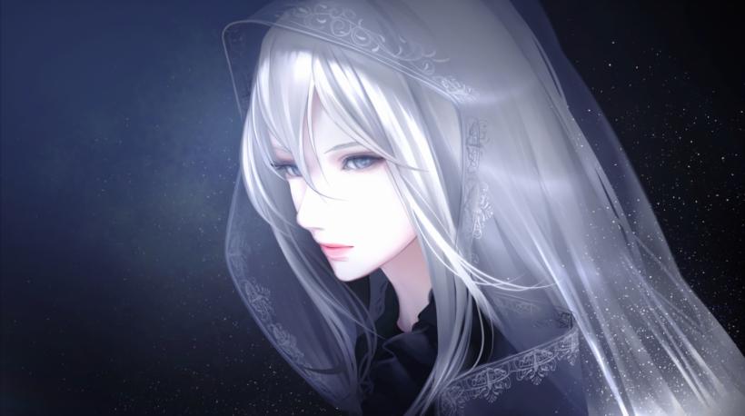 Hình ảnh cô gái anime tóc bạch kim đượm buồn