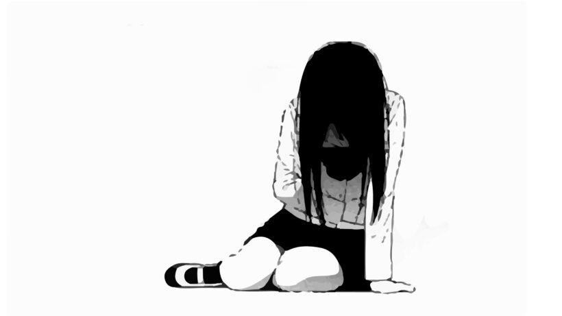 Hình ảnh đen trắng hoạt hình buồn nữ