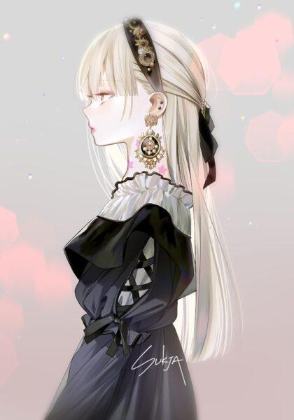 Hình ảnh girl anime tóc bạch kim lạnh lùng, đẹp