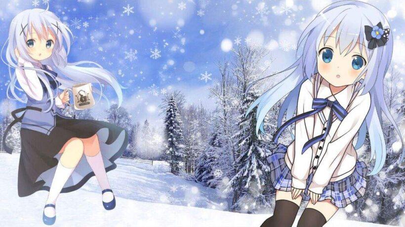 Hình ảnh hai cô bé anime mùa đông