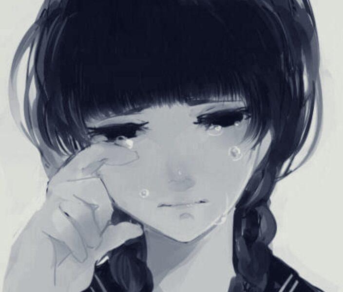Hình ảnh hoạt hình buồn khóc một mình