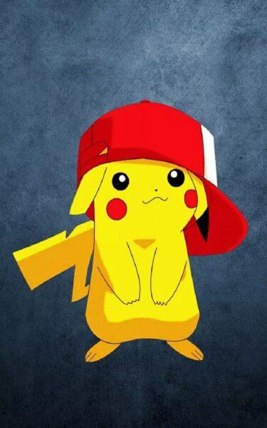 Hình ảnh hoạt hình Pikachu đội mũ dễ thương, cute