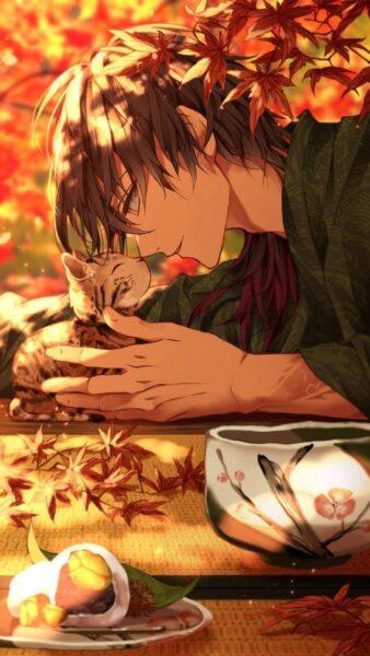 Hình ảnh nam anime Hàn Quốc và mèo con