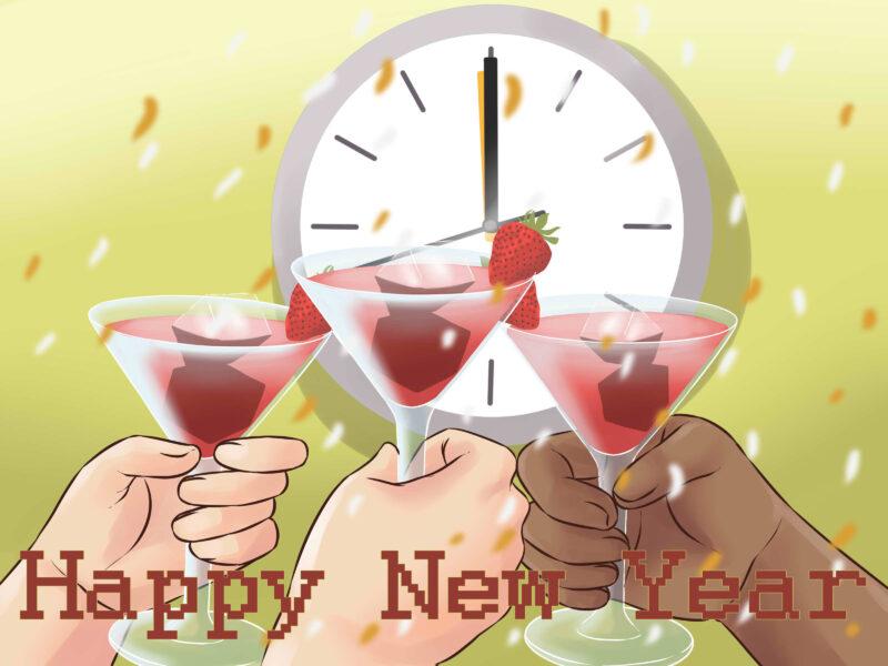 Hình ảnh nâng ly rượu chúc mừng năm mới