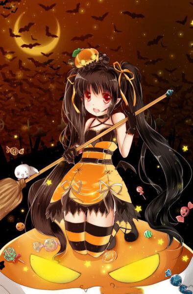 Hình ảnh nền anime Halloween đẹp cho điện thoại