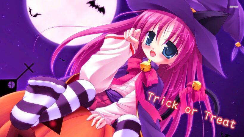 Hình ảnh nền anime Halloween đẹp Full HD cho máy tính