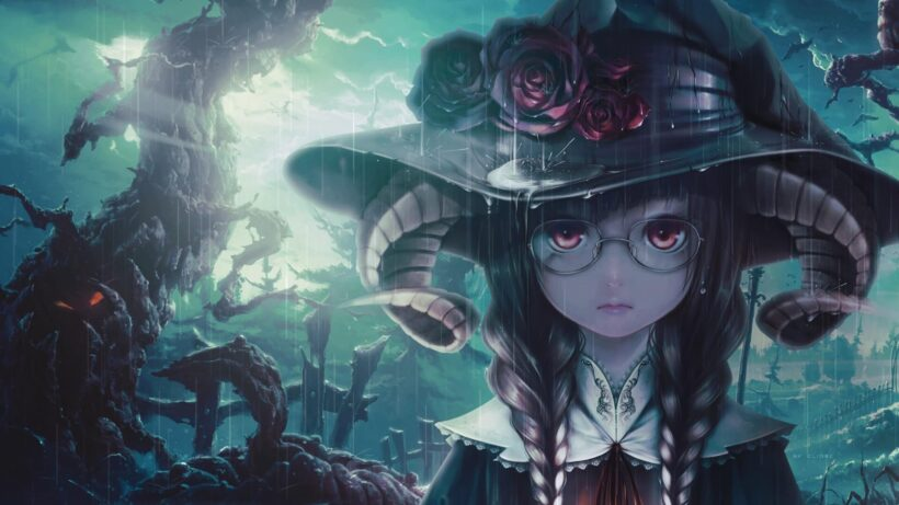 Hình ảnh nền anime Halloween trời mưa