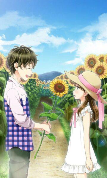 Hình ảnh nền anime hoa hướng dương cho điện thoại