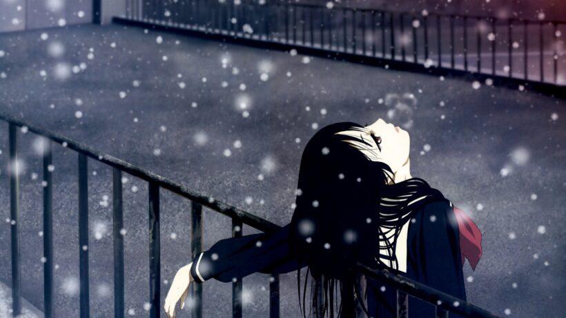 Hình ảnh nữ anime mùa đông buồn