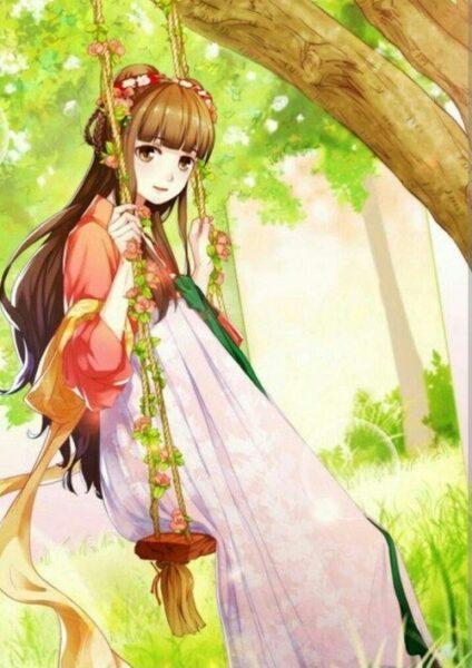 Hình ảnh nữ anime xinh đẹp trong trang phục truyền thống của Hàn Quốc