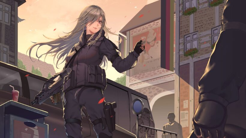 Hình ảnh nữ đặc nhiệm anime tóc bạch kim