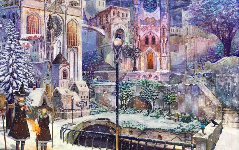 Hình ảnh thành phố anime mùa đông
