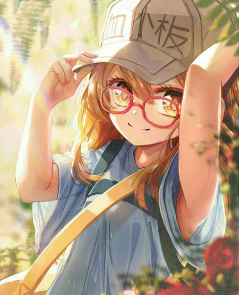 Hình anime girl đeo kính năng động