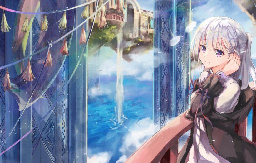 Hình anime girl tóc trắng dễ thương