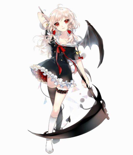 Hình anime girl tóc trắng mắt đỏ