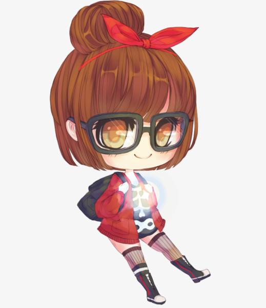 Hình chibi anime girl đeo kính đáng yêu
