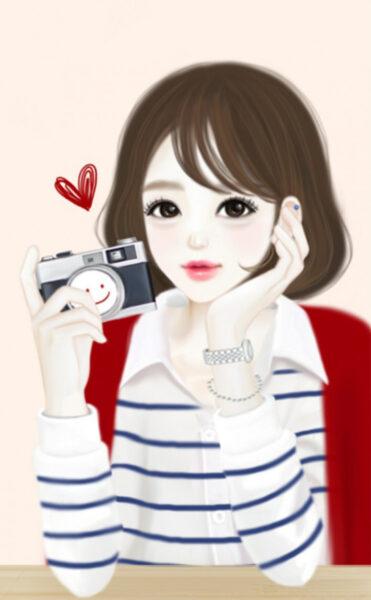 Hình cô gái anime Hàn Quốc và chiếc máy ảnh đẹp
