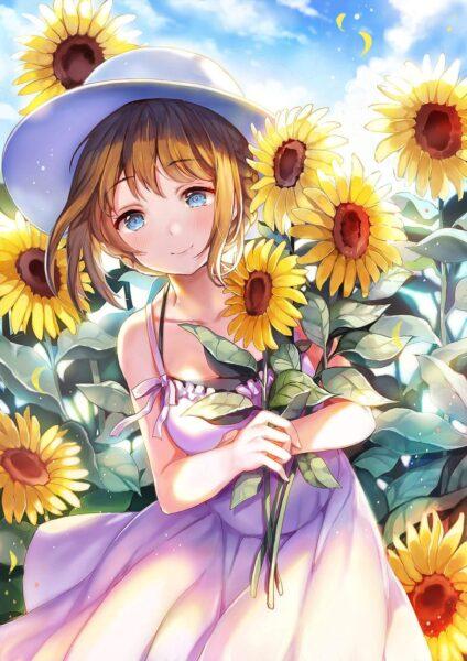Hình nền anime hoa hướng dương cực đẹp