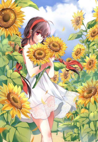 Hình nền anime hoa hướng dương đẹp cho điện thoại