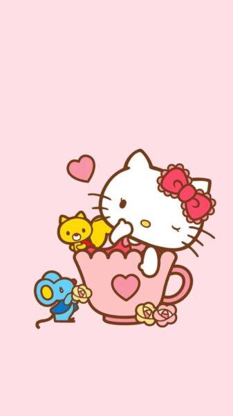 Ảnh Hello Kitty dễ thương làm hình nền điện thoại