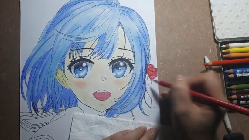 Cách vẽ anime nữ dễ thương bằng bút màu