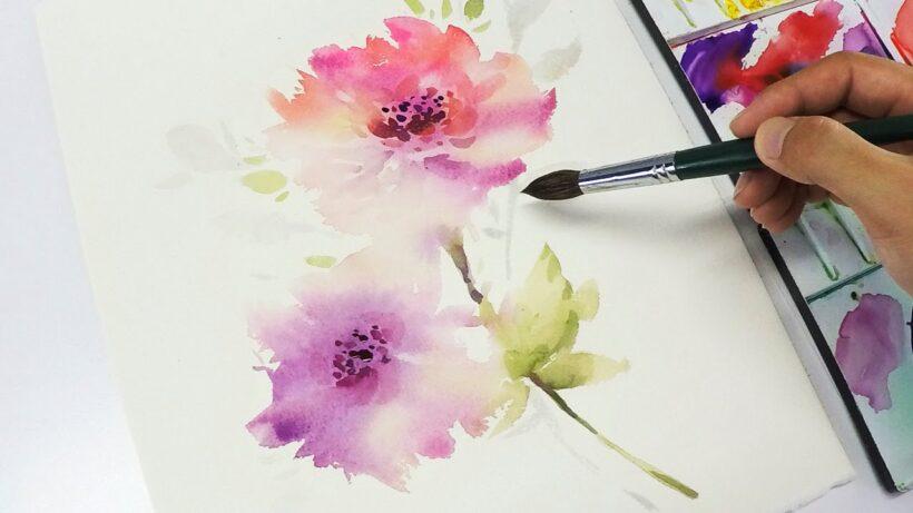 Cách vẽ bông hoa bằng màu nước