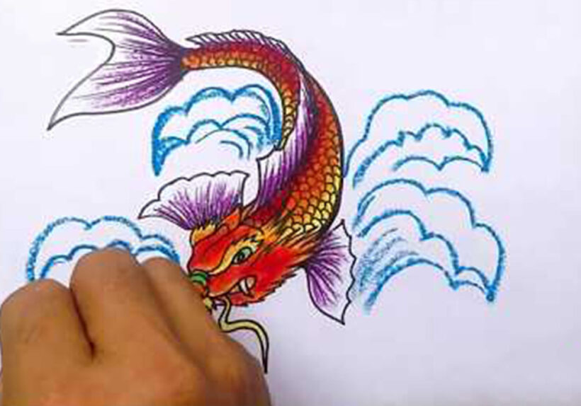 Cách vẽ Cá Chép hoá Rồng