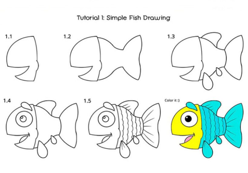 Cách vẽ Cá Chép hoạt hình đơn giản