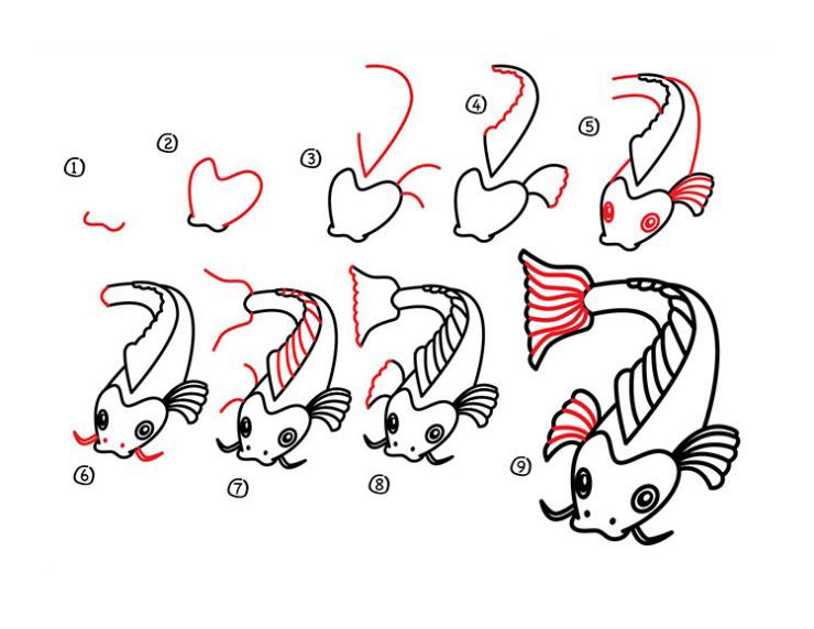 Cách vẽ Cá Chép Koi