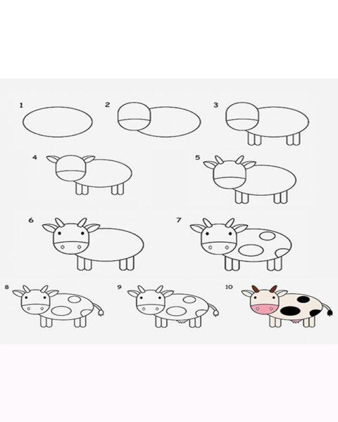 Cách vẽ con Bò Sữa