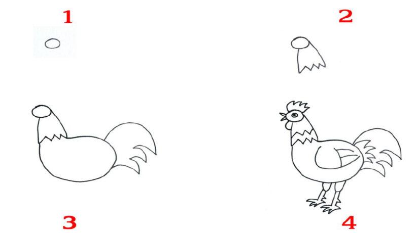 Cách vẽ con Gà Trống