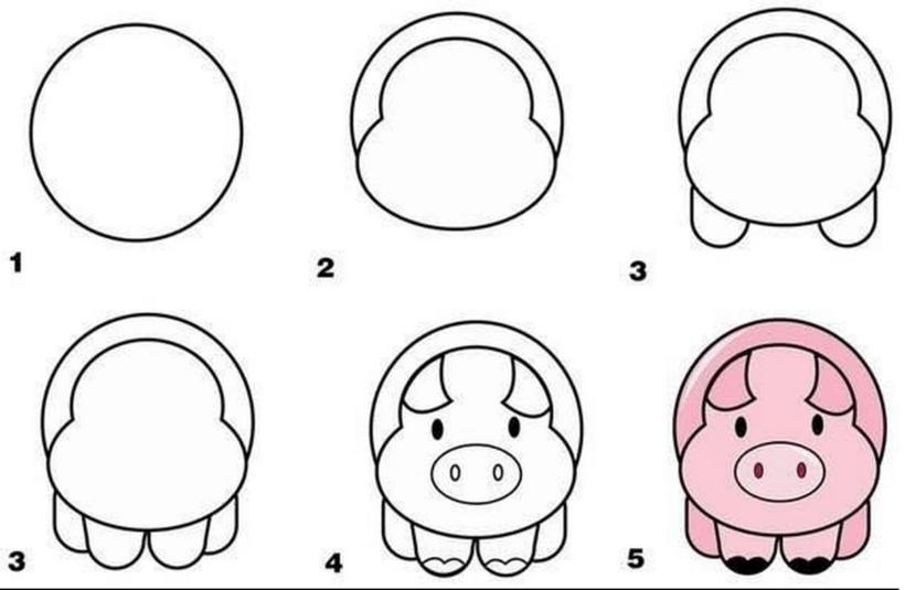 Cách vẽ con Lợn