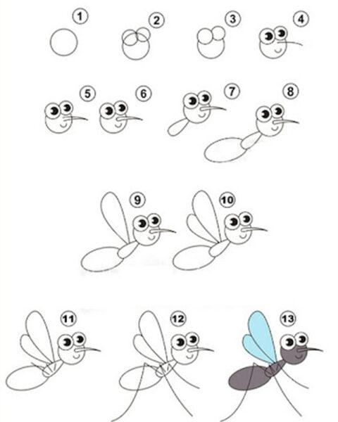 Cách vẽ con Muỗi
