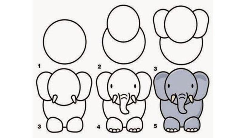 Cách vẽ con Voi