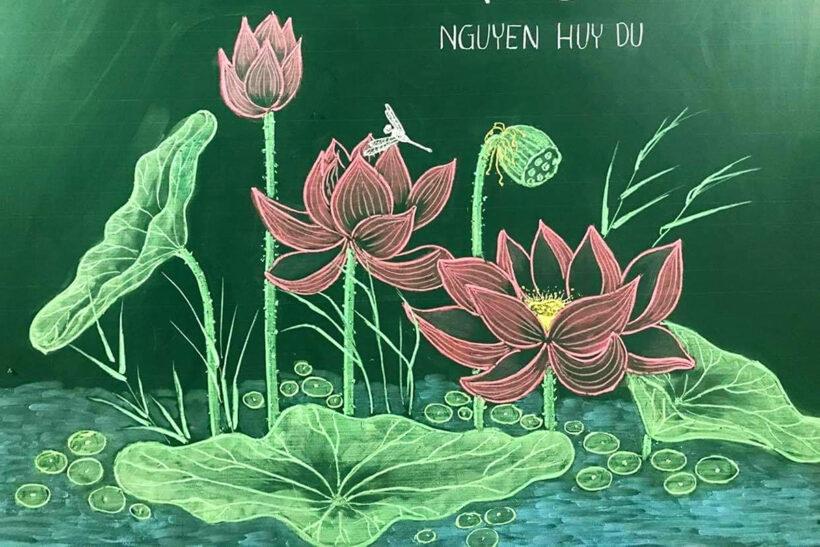 Cách vẽ hoa Sen trên bảng bằng phấn